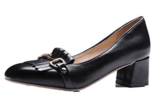 AmoonyFashion Womens Kitten-Heels Solid Pull-On Square-Toe Pumps-Shoes Black oLSDT8