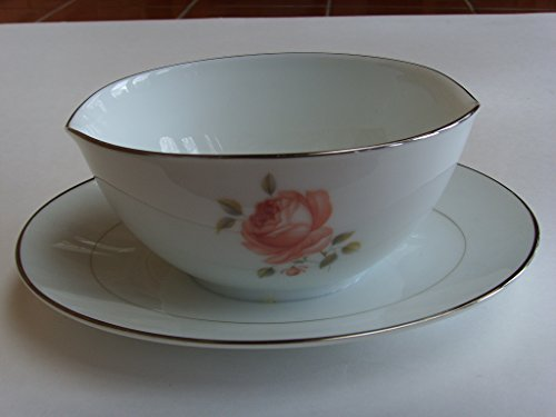 Noritake Fine China Gravy Boat Bowl with Attached Plate Collectible ()