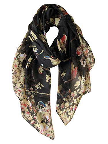 GERINLY Scarves for Women Fashion Floral Birds Print Headwraps Long Scarf (Black)