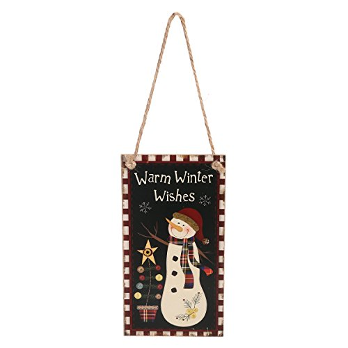 LUOEM Merry Christmas Welcome Sign Hanging Wall Plaque Decoration with Jute Rope Hanger for Party Holidays - Warm Winter Wishes ()
