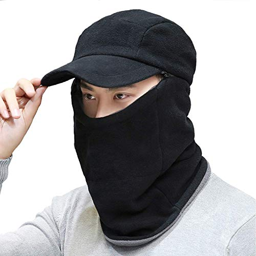 Winter 3 In 1 Full Face Hood Ski Mask Baseball Beanie Cap Scarf Neck Warmer for Motorcycle Cycling Skiing, Womens Mens Windproof Warm Fleece Hoodie Trapper Bomber Hats Cold Weather Helmet (Black)