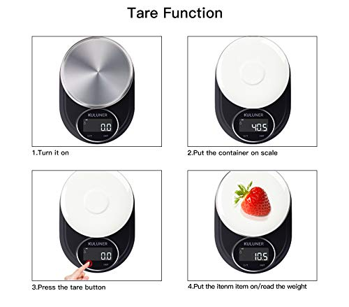 KULUNER Digital Food Scale 5000g/0.1g Multifunction High Precision Digital Food Kitchen Scale for Baking and Cooking, Stainless Steel/HD&LCD Display (Batteries Included)