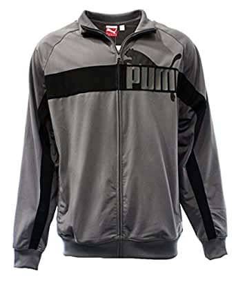 Puma Men's Tricot Jacket (S, Steel Grey/Dark Shadow/Firey Red)