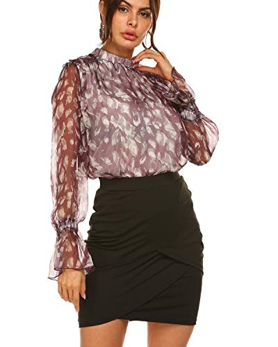 - Women Bohemian Long Sleeve Ruched Neck Floral Print T Shirt Tops Blouse Tee Purple,S