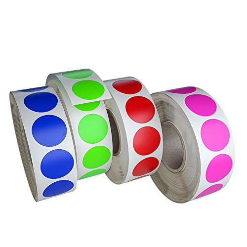 Circle Dots Stickers Label Rolls in 4 Assorted Colors - Round Colored Label Sticker for Inventory Labeling 19mm - 4200 Pack by Royal Green