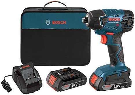 Bosch 25618-02 18-Volt Lithium-Ion 1 4-Hex Impact Driver Kit with 2 Batteries, Charger and Bag