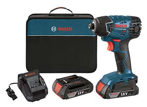 Bosch 25618-02 18-Volt Lithium-Ion 1/4-Hex Impact Driver Kit with 2 Batteries, Charger and Bag Bosch Impact Drill