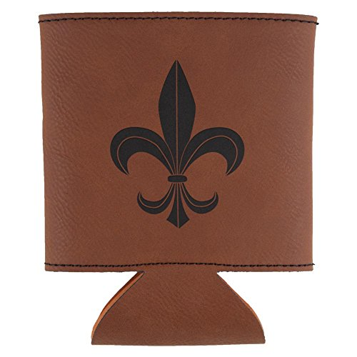 Old Glory Mardi Gras Fleur De Lis Etched Leatherette Can Cooler Rawhide Standard One - Carnival Shirts Camp