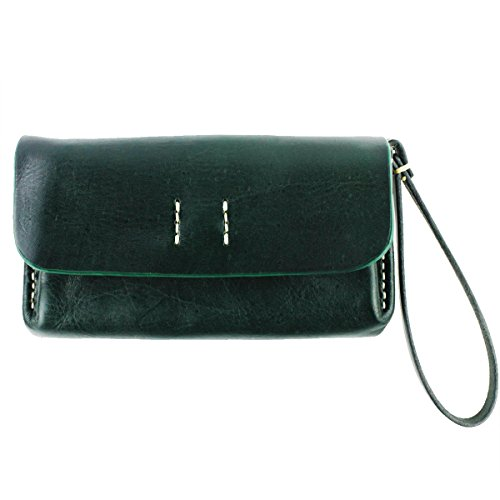 UER Women's Handcrafted Tanned Cow Leather Wallet Clutch with Button (green)