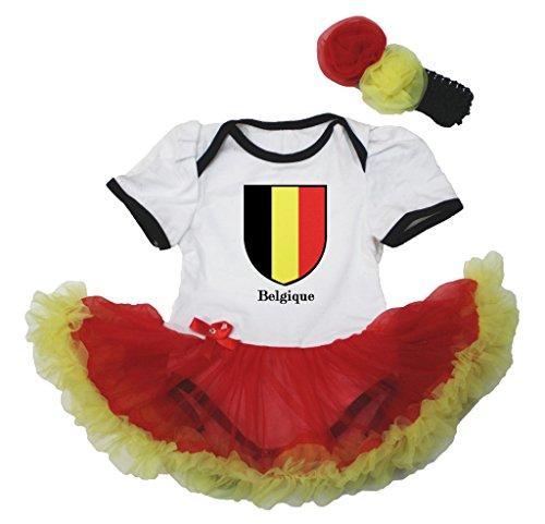 Price comparison product image Petitebella Flag of Belgique White Bodysuit Red Yellow Tutu Baby Dress Nb-18m (White,  6-12 Months)