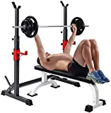 KEO Upgrade Barbell Rack 550LBS Max Load Adjustable Sturdy Steel Squat Stand Dipping Station Free Bench Press Stands…