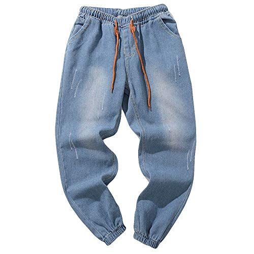 (Mens Hip Hop Jeans, NewlyBlouW Autumn Casual Vintage Denim Pants Cotton Wash Trousers Elastic Waist Work Overalls Light Blue)