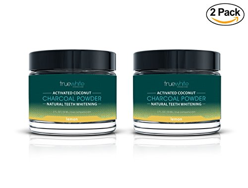 Price comparison product image Teeth Whitening Natural Activated Charcoal Powder by truewhite- Lemon Flavored - Perfect Teeth Whitener with Pure Charcoal Powder with Coconut - 02 FL Oz (Lemon,  2 Pack)