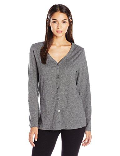 Jockey Women's Brushed Cotton Jersey Cardigan, Charcoal Heather, (Brushed Jersey Sleepwear)