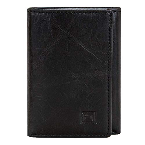 Slim RFID Blocking Trifold Wallet for Men - Genuine Buffalo Leather - Black