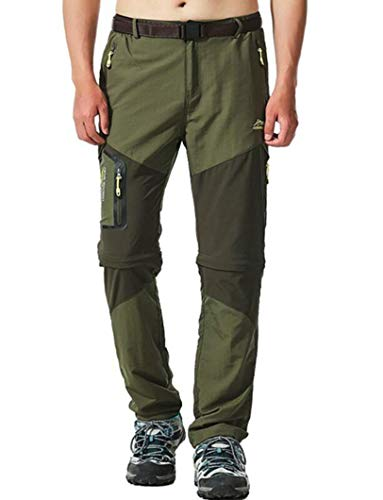 Men's Water-Repellent Quick Dry Convertible Pants Army Green Asian 2XL