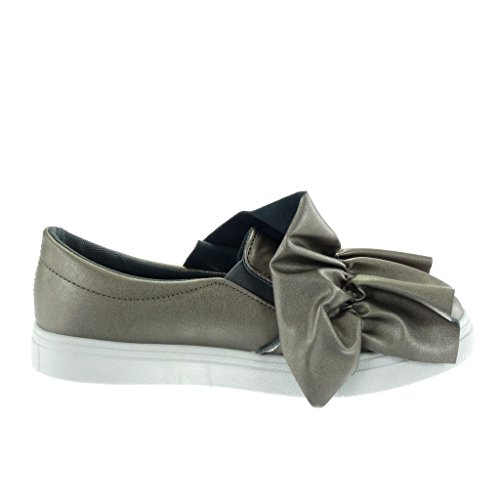 Angkorly Women's Fashion Shoes Trainers - Tennis - Slip-On - Knot - node Flat Heel 2.5 cm Grey pSSYVBz