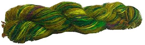 Knitsilk Crush me green Multicolor sari silk yarn - (60 Grams)