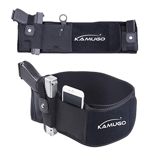 KAMUGO Belly Band Carrier - Concealed Carry Purse - Holsters for Pistols - Belt Glock Holster - Premium Women & Men Tactical Belt - Adjustable Hip Holster with Spare Magazine Pocket (Right)
