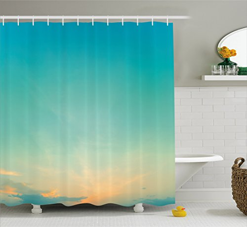 Ambesonne Aqua Shower Curtain, Twilight Sunset Morning Clear Sky Dawn Nature Clouds Horizon Artwork, Fabric Bathroom Decor Set with Hooks, 75 Inches Long, Turquoise Orange