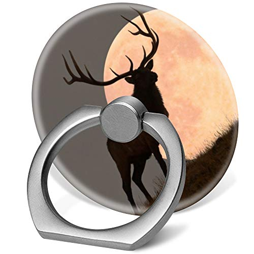 360 Degree Finger Stand Cell Phone Ring Holder Car Mount with Hook for Smartphone-Deer Bull elk and Full Moon Rise (Rings Rise)