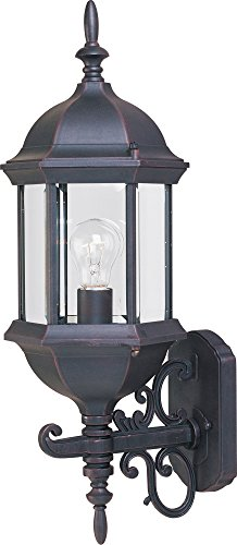 Maxim 1072CLEB Builder Cast 1-Light Outdoor Wall Mount, Empire Bronze Finish, Clear Glass, MB Incandescent Incandescent Bulb , 60W Max., Dry Safety Rating, Standard Dimmable, Glass Shade Material, 6048 Rated Lumens