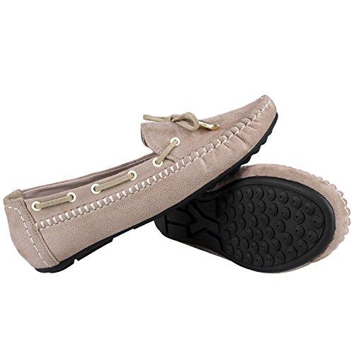 Sibba Kvinna Tillfälliga Mocka Lägenheter Mockasin Loafers Slip-on Promenad Båt Skor Beige