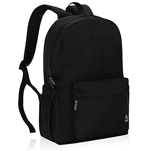 - Veegul Lightweight School Backpack Classic Bookbag for Girls Boys Black