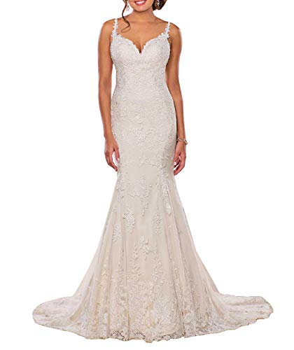 Lianai Women's Sexy Bride Wedding Dresses Open V Back with Lace Straps Bridal Gowns Ivory,14 ()