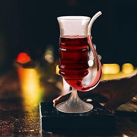 YARNOW 2 Unidades Copa de Vino Copa de Vidrio de Vampiro de 200Ml con Tubo de Beber Copa de Vino Decantador Filtro Whisky Copa de Champán para Jugo Vino Transparente