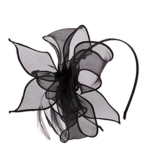 - Felizhouse Organza Flower Fascinator Headband for Women Girls Cute Costume Party Hair Accessories (Black)