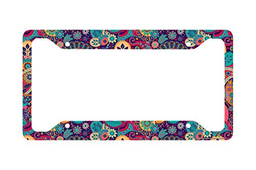- Airstrike Hippie Flower License Plate Frame, Floral Pattern Car Tag Frame, Retro License Plate Holder, Cute License Plate Frame-30-753