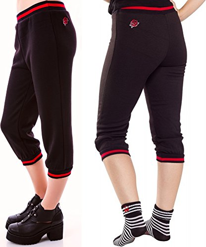 Black-Red-Rose-Fleece-Capris-from-Sourpuss-Clothing