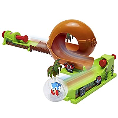 Sonic The Hedgehog Pinball Green Hill Zone Pinball Track Play Set, 9Piece, with Looping Action & Automatic Bumper Exclusive Sonic Sphere Included, for Ages 3+: Toys & Games