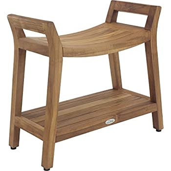 Image of AquaTeak Asia Ascend Teak Shower Bench with Shelf Bath & Shower Safety Seating & Transfer Benches