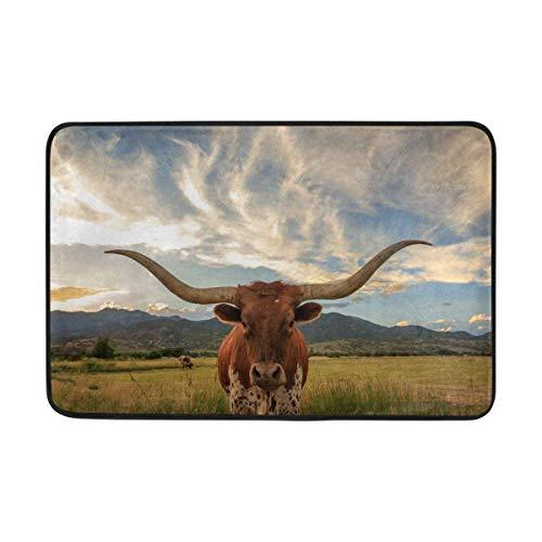 (Guan Tong Doormats Area Rug for Indoor Outdoor Use, Texas Longhorn Steer Entry Front Door Mat Kitchen Bathroom Non Slip Rug 23.6x15.7 Inches)