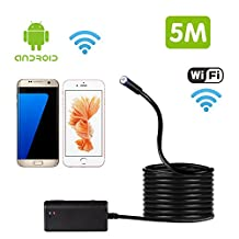 BlueFire Wireless Endoscope HD 9mm Waterproof WIFI Inspection Snake Camera Video Inspection Camera Borescope for all System Above Android 4.4 and iOS 8.0 iPhones 6/6s, iPads, Samsung, HTC, HUAWEI, Nexus, SONY (5M)