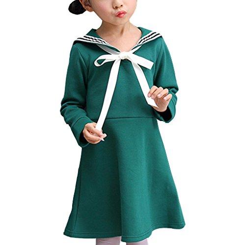 ZUOMA女の子 春秋のワンピース 長袖 子供服 学院風 ファッション マリン風 蝶結び