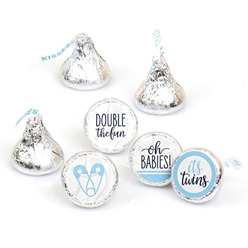 Twin Baby Shower Favors (It's Twin Boys  - Blue Twins Baby Shower Round Candy Sticker Favors - Labels Fit Hershey's Kisses (1 Sheet of)