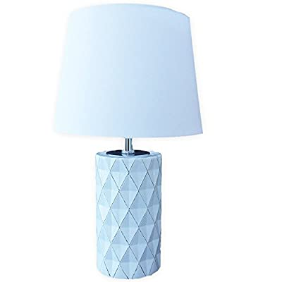 """Aurelia 17"""" Geometric Faceted Ceramic Base Table Lamp White with Gold Accents"""