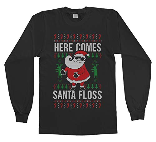 Threadrock Here Comes Santa Floss Ugly Christmas Sweater Kids Youth Long Sleeve T-Shirt M Black (Boys Ugly Christmas Sweater)