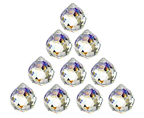 H&D 10pcs 30mm Clear Crystal Ball Feng Shui Lamp Prism Rainbow Suncatcher Wedding Decor Ceiling Lamp Lighting Hanging Drop Pendants