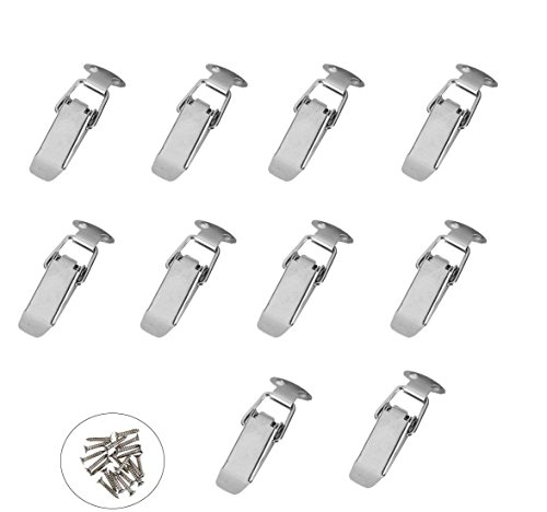 ZXHAO HS-010 Ni Plated Iron Spring Loaded Toggle Latch Catch Clamp Clip for Trunk Case Box and Chest with 10 pack (Additional 40pcs M4X16 Screws)