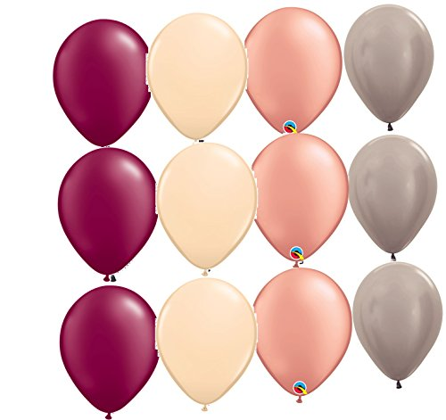 12 balloons NEW party BURGUNDY BLUSH ROSE GOLD GREIGE vintage wedding colors DECOR bridal SHOWER - Balloons Party Vintage