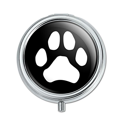 Paw Print Dog Cat White on Black Pill Case Trinket Gift ()