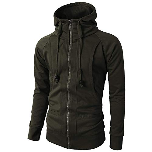 GOVOW Mens Fashion Autumn Winter Warm 2019 Long Sleeve Sport Zipper Casual Hooded Fleece Hoodie Pullover Blouse Tops