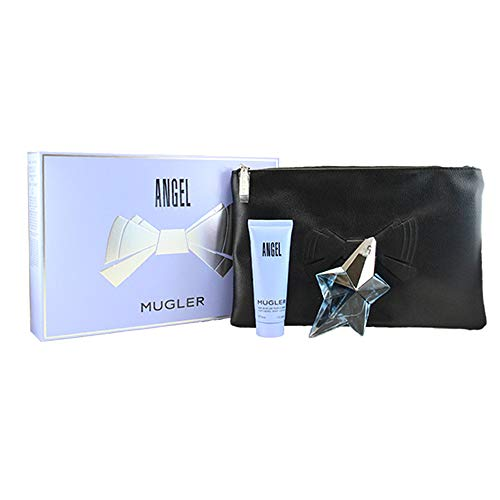 (Thierry Mugler Angel 3 Pc.gift Set (Eau De Parfum Spray Refillable + Perfuming Body Lotion +cosmetics Bag) for Women, 0.8 Fl Ounce)