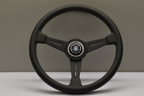 Nardi Steering Wheel - Classic - 390mm (15.35 inches) - Black Leather with Grey Stitching and Black Anodized Spokes - Black Aluminum Ring - Part # 6061.39.2001