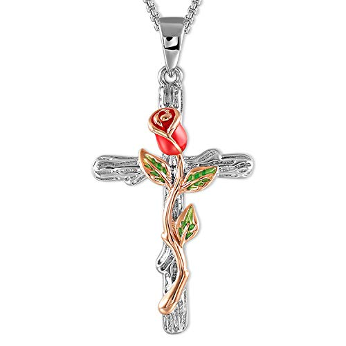 (SNZM Red Flower Green Leaf Natural Rose Pendant Necklace Jewelry Gift for Women)