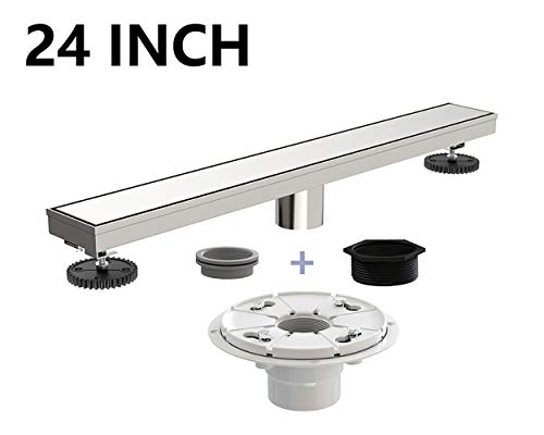 Ushower 24 Inch Linear Drain for Shower with Shower Drain Base, Tile Insert Linear Floor Drain Brushed Nickel, Invisile Rectangle Shower Bathroom Drain with Leveling Feet, Threaded Adapter ()